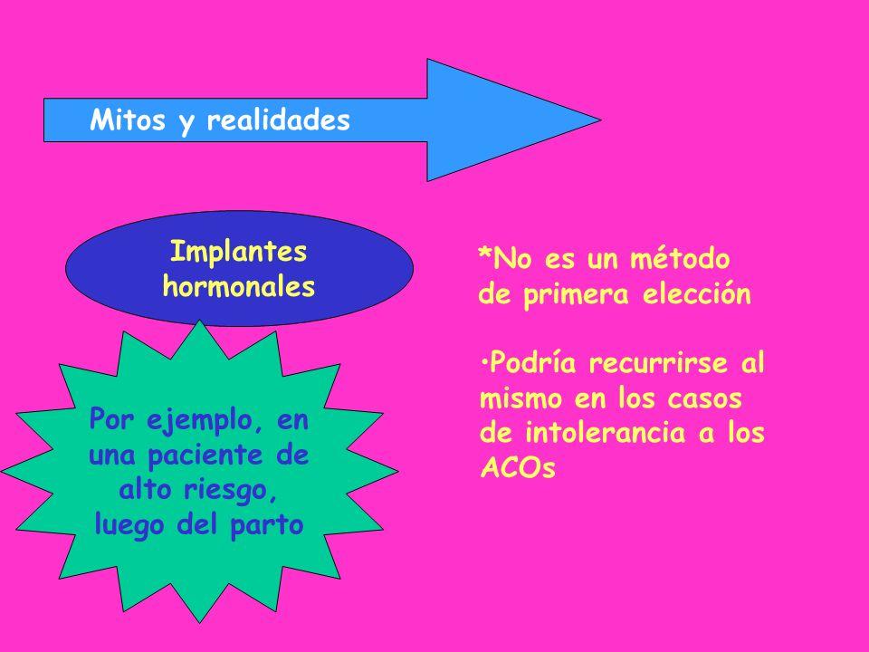 Mitos y realidadesImplantes. hormonales. *No es un método. de primera elección. Por ejemplo, en. una paciente de.