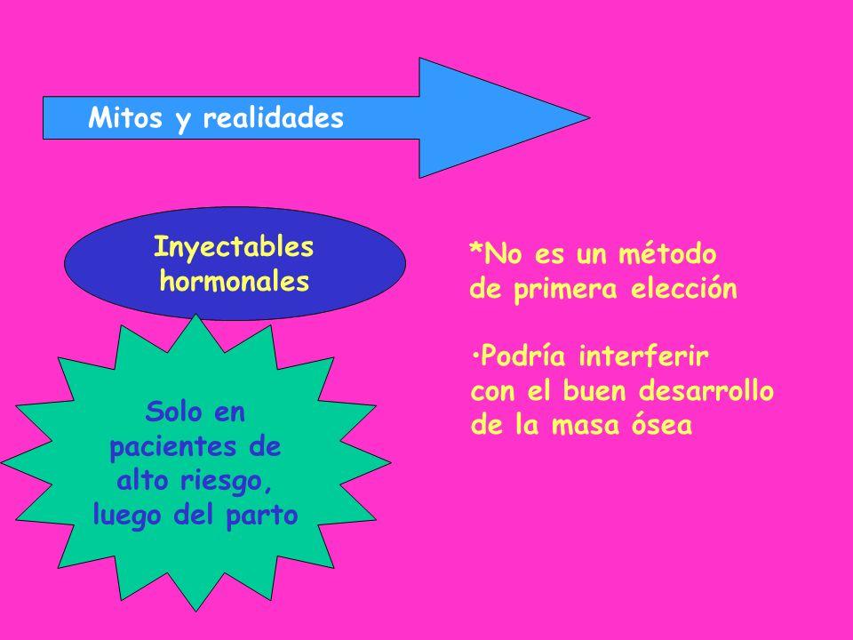 Mitos y realidades Inyectables. hormonales. *No es un método. de primera elección. Solo en. pacientes de.