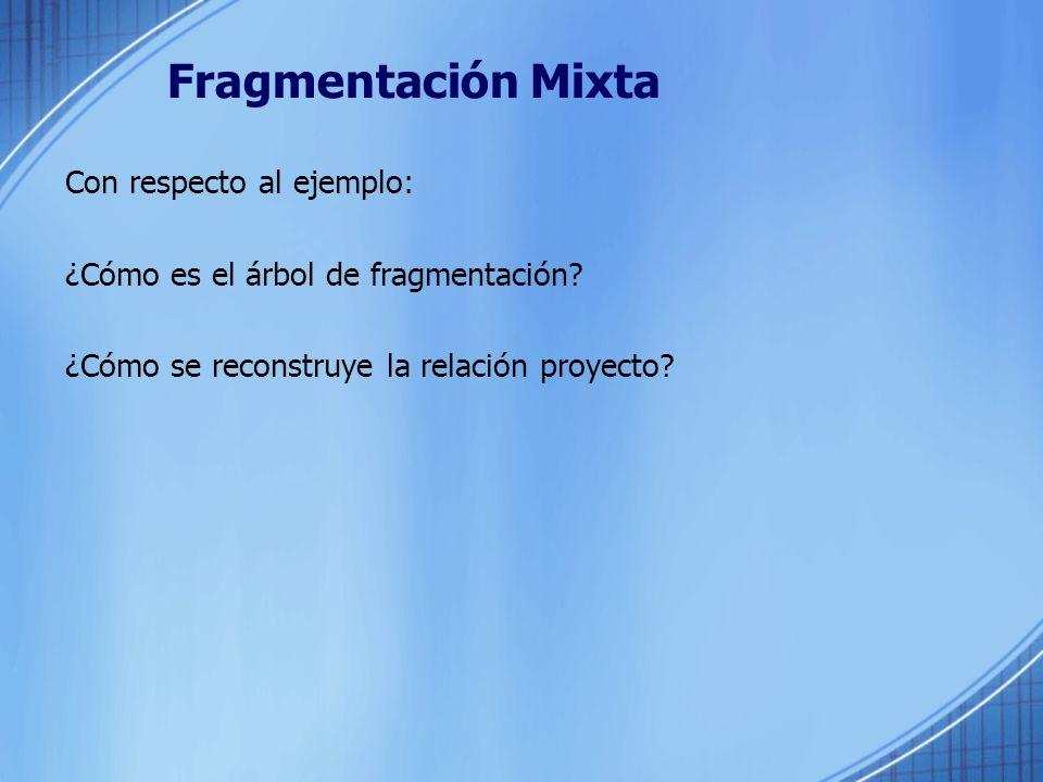 Fragmentación Mixta Con respecto al ejemplo: