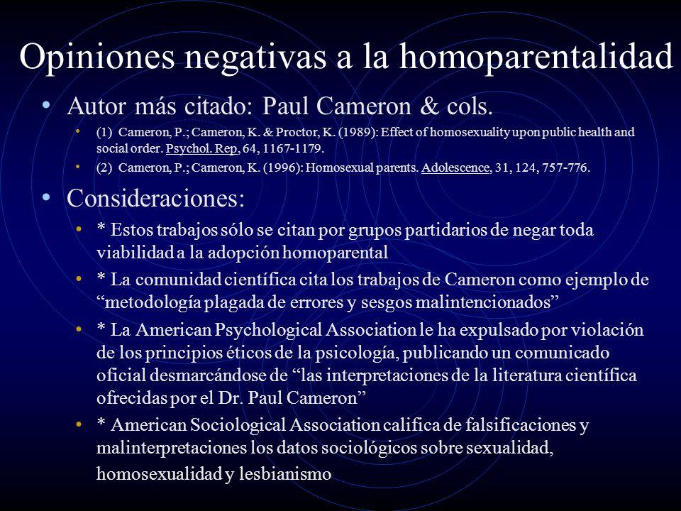 Opiniones negativas a la homoparentalidad