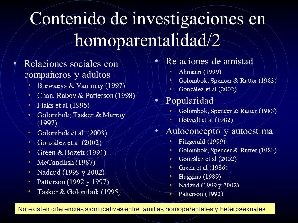 Contenido de investigaciones en homoparentalidad/2