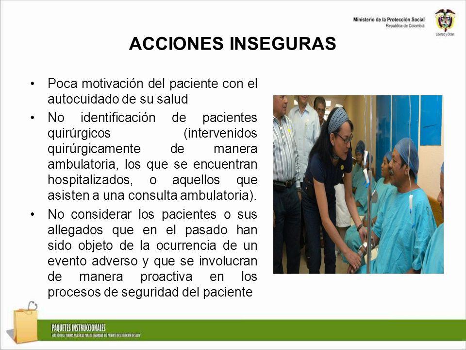 ACCIONES INSEGURAS Poca motivación del paciente con el autocuidado de su salud.
