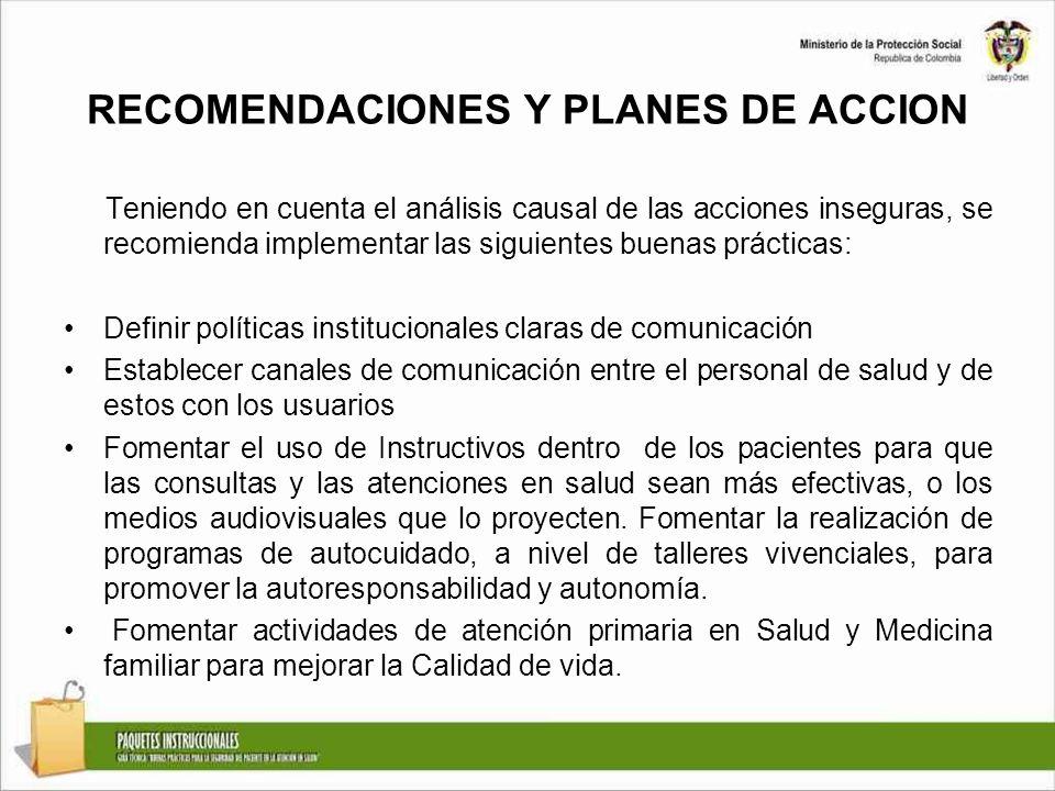 RECOMENDACIONES Y PLANES DE ACCION