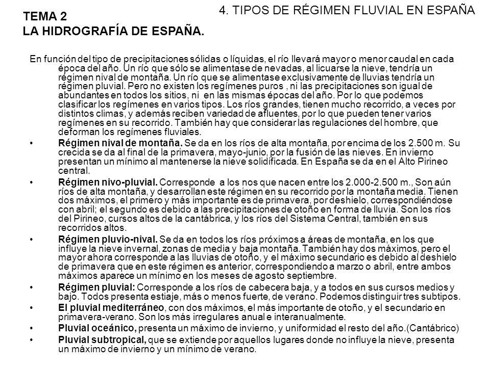 4. TIPOS DE RÉGIMEN FLUVIAL EN ESPAÑA TEMA 2 LA HIDROGRAFÍA DE ESPAÑA.