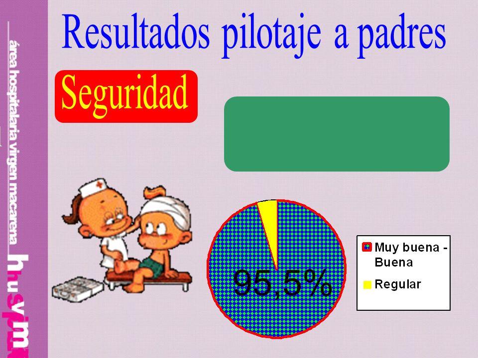 95,5% Resultados pilotaje a padres Seguridad Preparación profesional