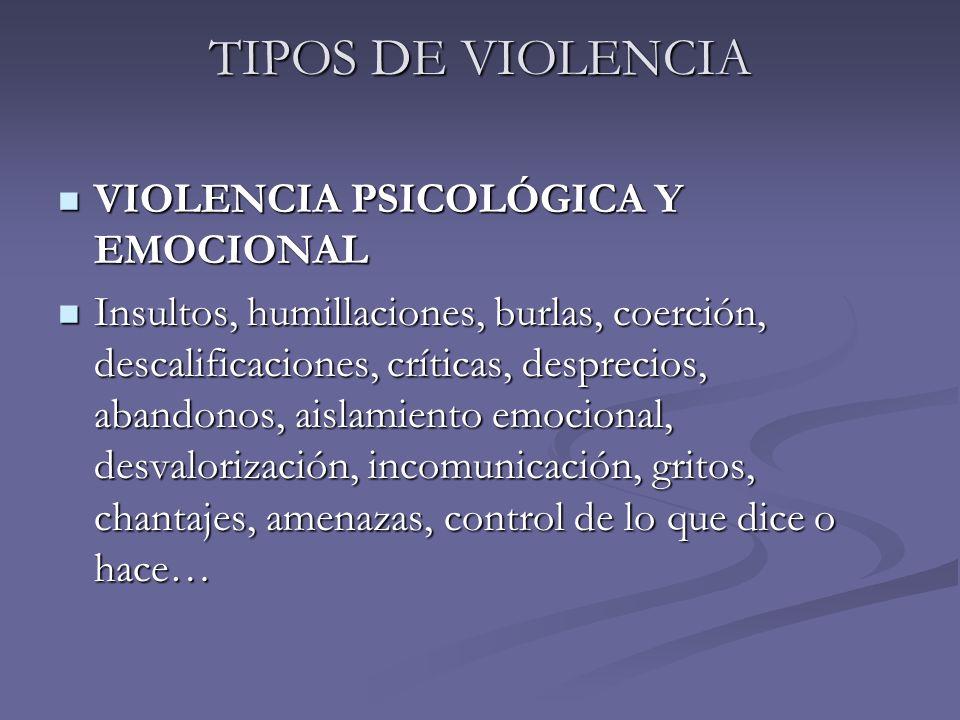 TIPOS DE VIOLENCIA VIOLENCIA PSICOLÓGICA Y EMOCIONAL