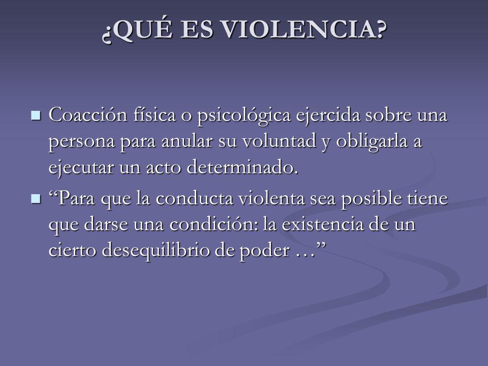 ¿QUÉ ES VIOLENCIA Coacción física o psicológica ejercida sobre una persona para anular su voluntad y obligarla a ejecutar un acto determinado.