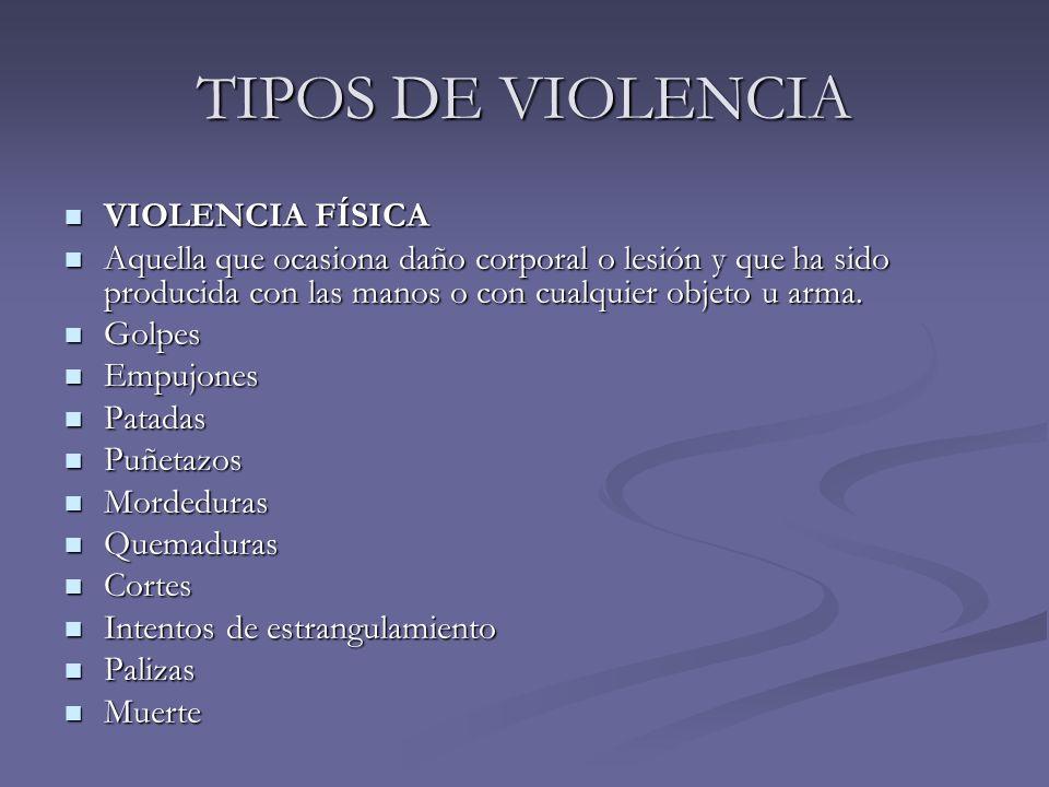 TIPOS DE VIOLENCIA VIOLENCIA FÍSICA