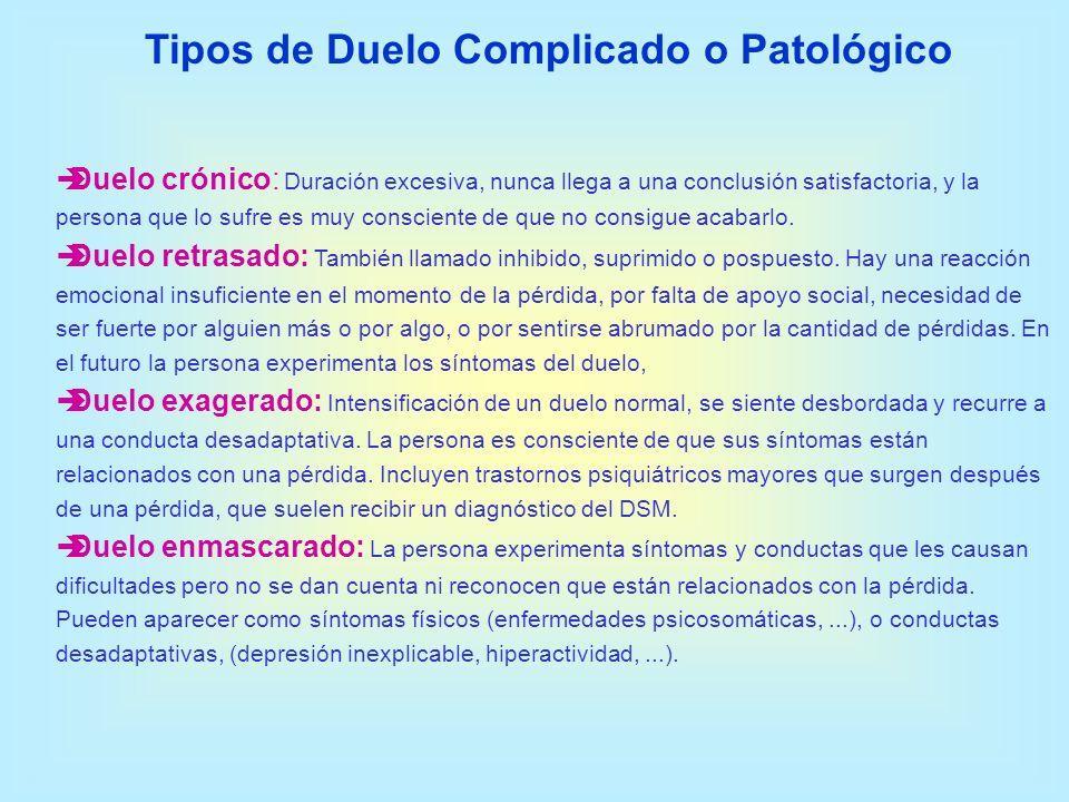 Tipos de Duelo Complicado o Patológico