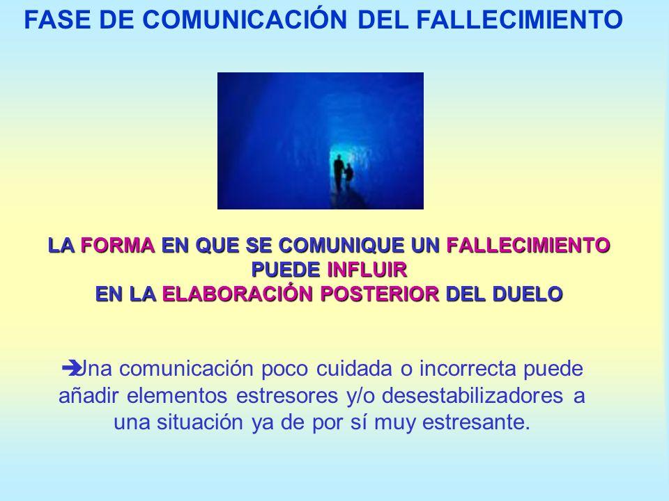 FASE DE COMUNICACIÓN DEL FALLECIMIENTO