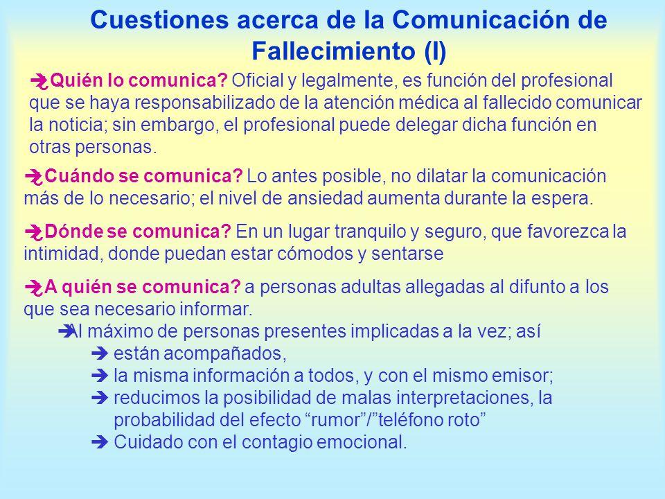 Cuestiones acerca de la Comunicación de Fallecimiento (I)