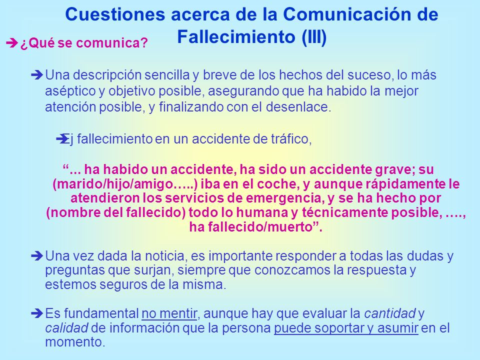 Cuestiones acerca de la Comunicación de Fallecimiento (III)