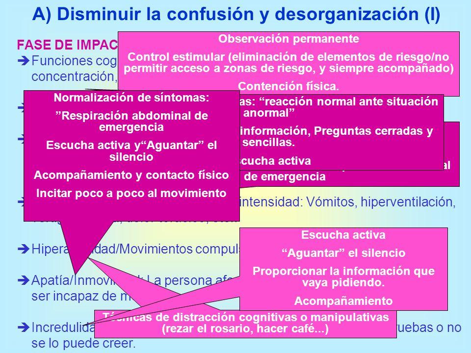 A) Disminuir la confusión y desorganización (I)