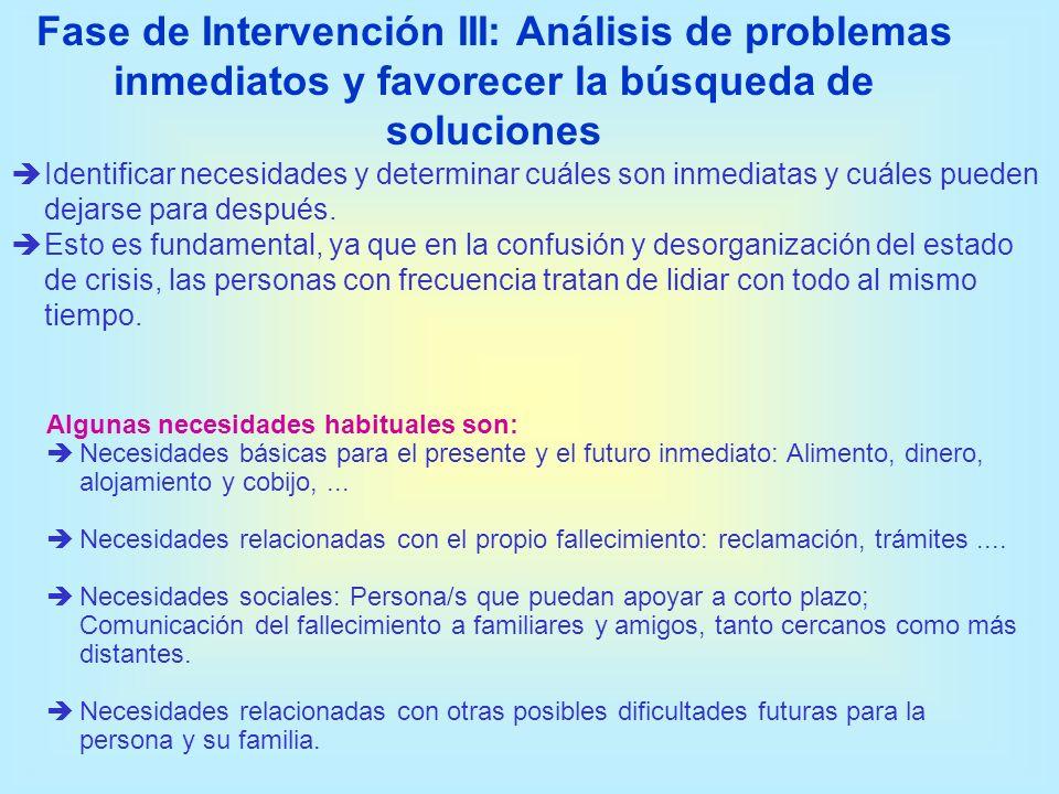 Fase de Intervención III: Análisis de problemas inmediatos y favorecer la búsqueda de soluciones