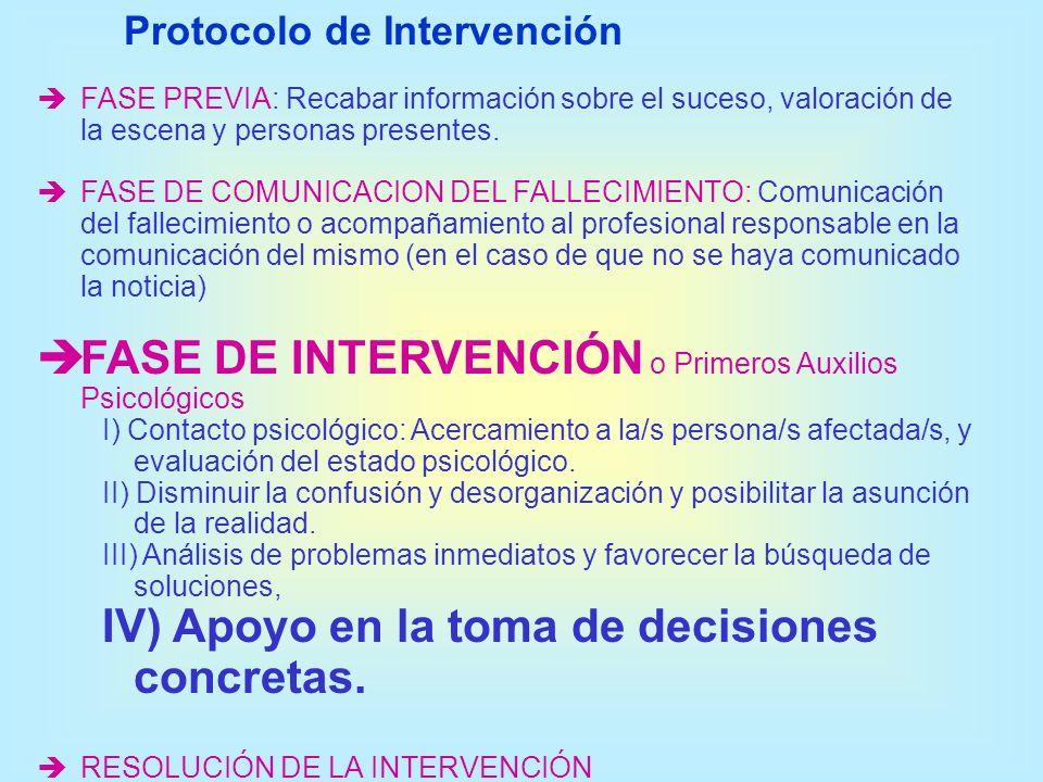 FASE DE INTERVENCIÓN o Primeros Auxilios Psicológicos