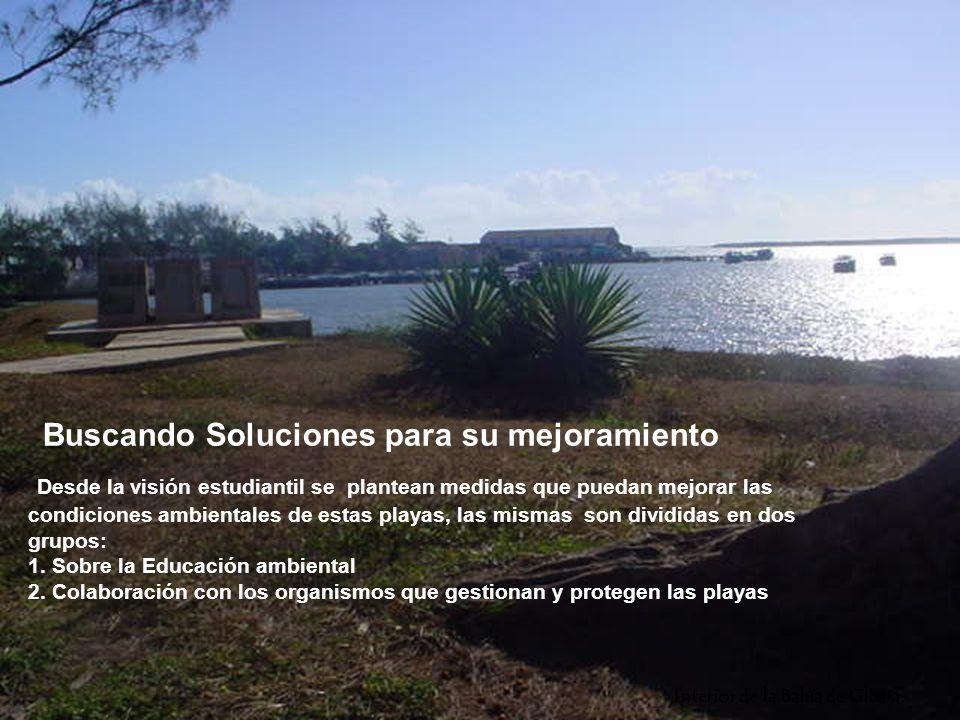 Buscando Soluciones para su mejoramiento Desde la visión estudiantil se plantean medidas que puedan mejorar las condiciones ambientales de estas playas, las mismas son divididas en dos grupos: 1. Sobre la Educación ambiental 2. Colaboración con los organismos que gestionan y protegen las playas