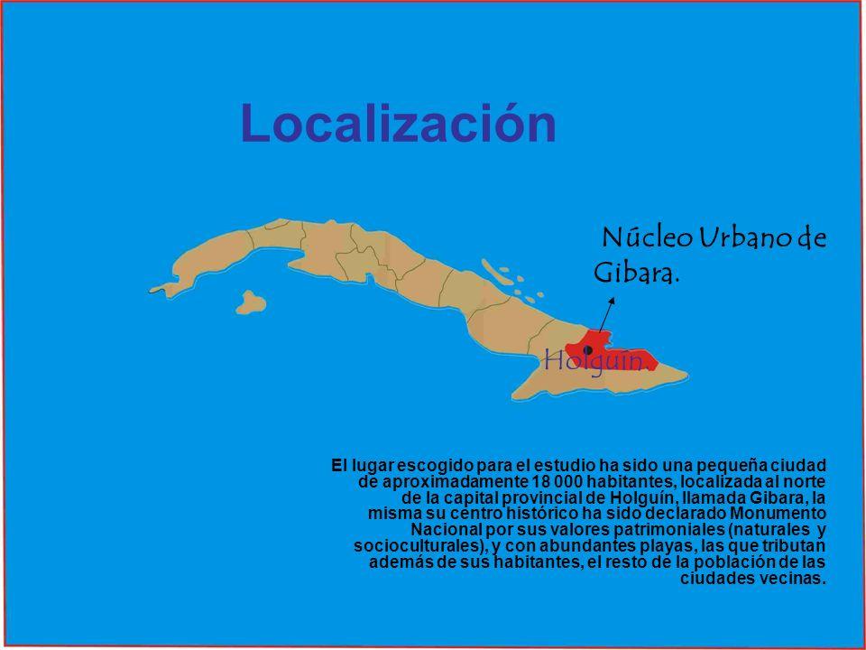 Localización Núcleo Urbano de Gibara. Holguín.
