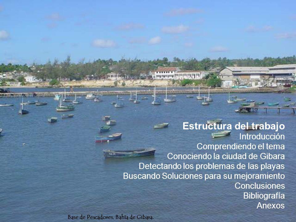 Estructura del trabajo Introducción Comprendiendo el tema Conociendo la ciudad de Gibara Detectando los problemas de las playas Buscando Soluciones para su mejoramiento Conclusiones Bibliografía Anexos
