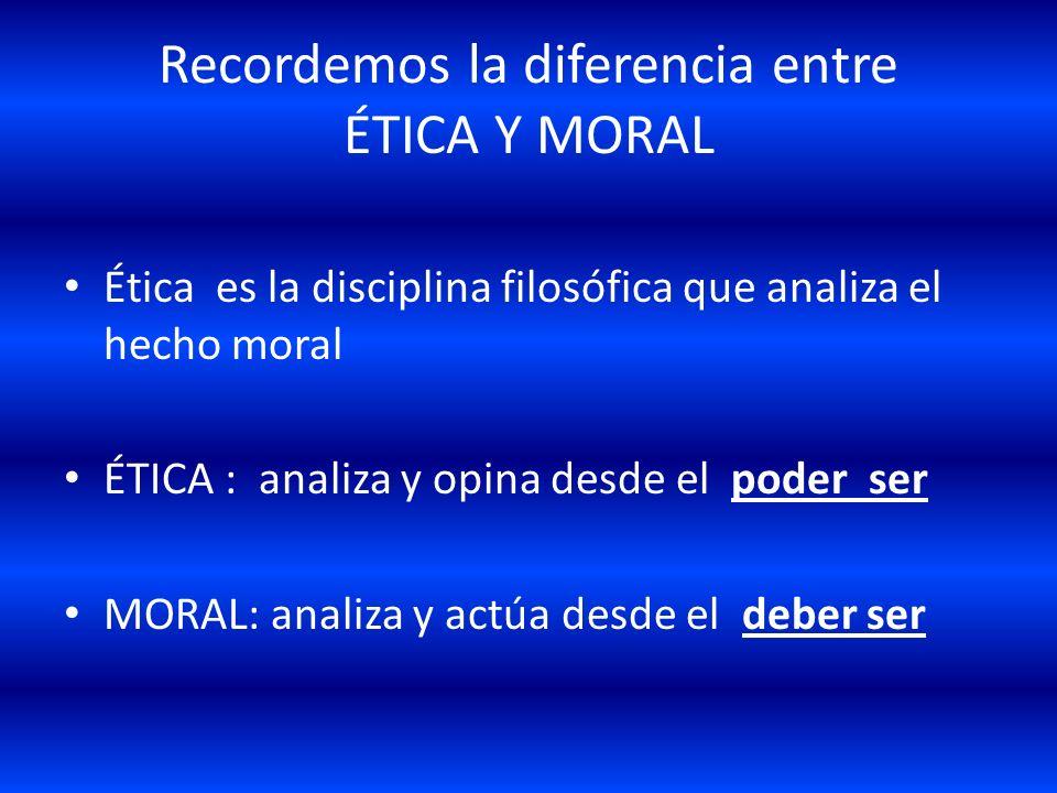 Recordemos la diferencia entre ÉTICA Y MORAL