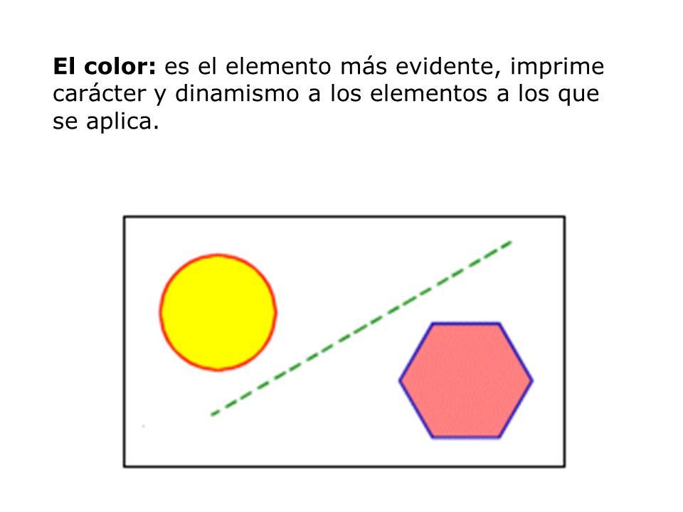 El color: es el elemento más evidente, imprime carácter y dinamismo a los elementos a los que se aplica.