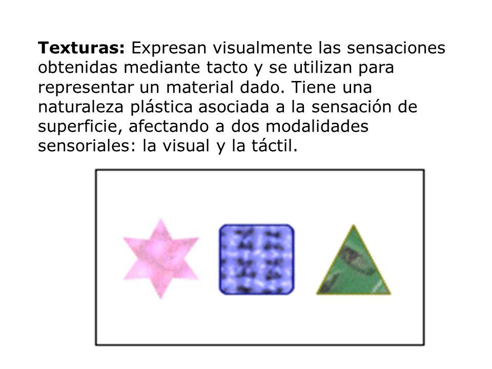 Texturas: Expresan visualmente las sensaciones obtenidas mediante tacto y se utilizan para representar un material dado.
