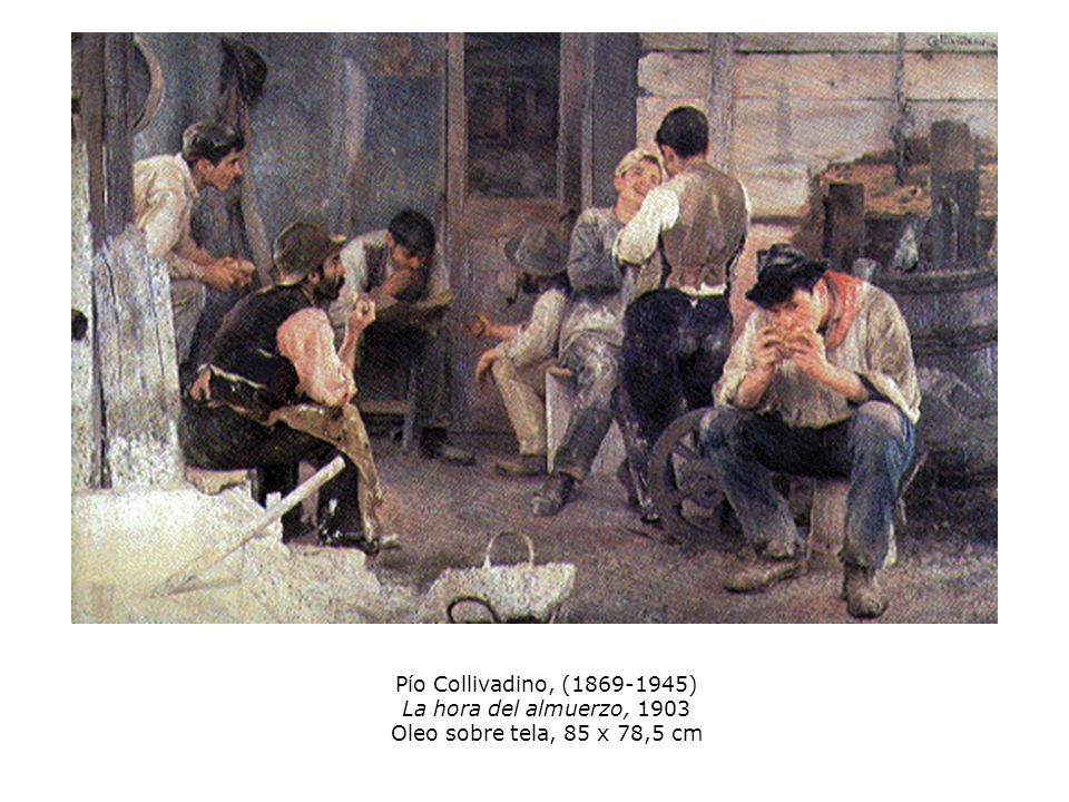Pío Collivadino, (1869-1945) La hora del almuerzo, 1903 Oleo sobre tela, 85 x 78,5 cm