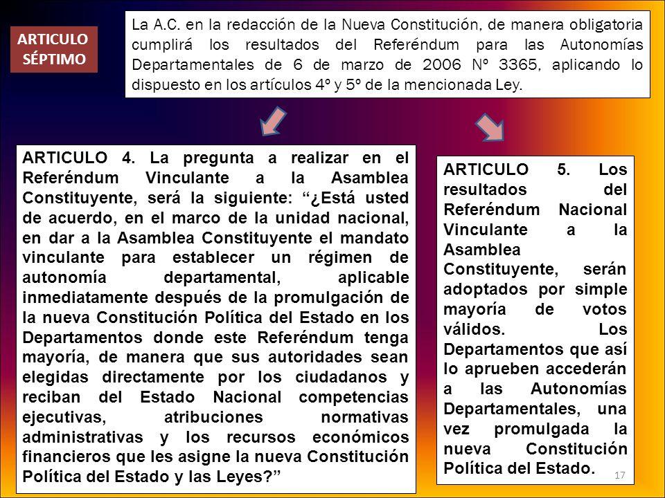 La A.C. en la redacción de la Nueva Constitución, de manera obligatoria cumplirá los resultados del Referéndum para las Autonomías Departamentales de 6 de marzo de 2006 Nº 3365, aplicando lo dispuesto en los artículos 4º y 5º de la mencionada Ley.
