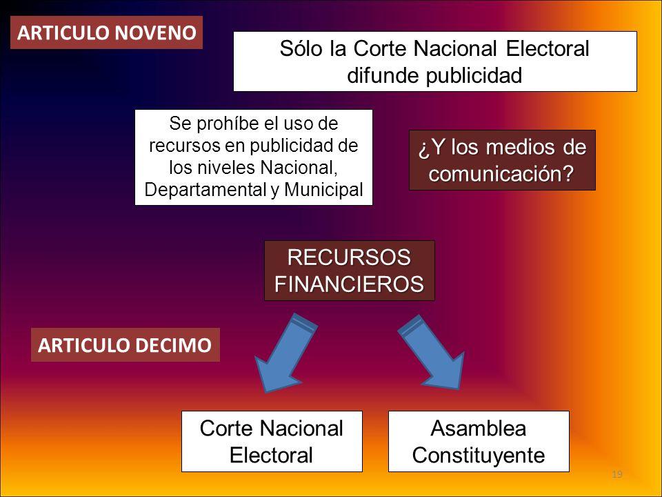 Sólo la Corte Nacional Electoral difunde publicidad