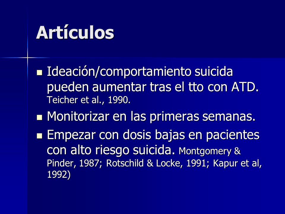 Artículos Ideación/comportamiento suicida pueden aumentar tras el tto con ATD. Teicher et al., 1990.