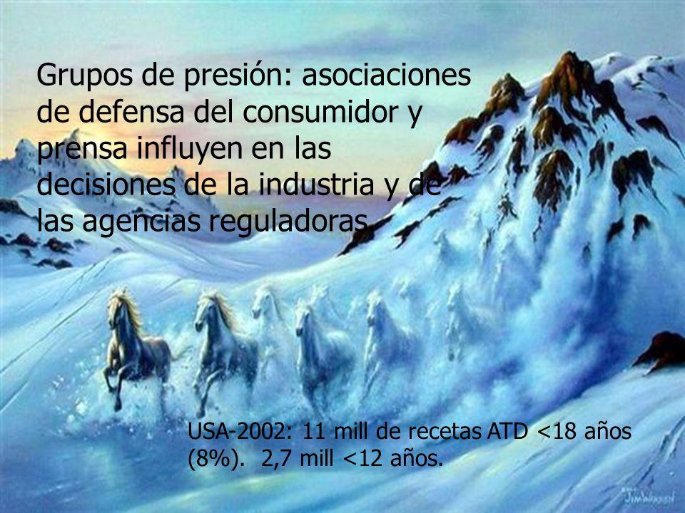 Grupos de presión: asociaciones de defensa del consumidor y prensa influyen en las decisiones de la industria y de las agencias reguladoras.
