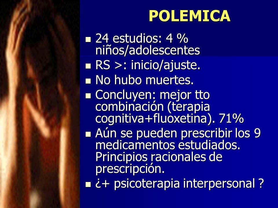 POLEMICA 24 estudios: 4 % niños/adolescentes RS >: inicio/ajuste.
