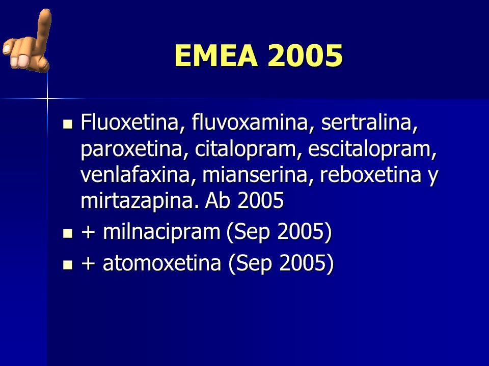 EMEA 2005 Fluoxetina, fluvoxamina, sertralina, paroxetina, citalopram, escitalopram, venlafaxina, mianserina, reboxetina y mirtazapina. Ab 2005.