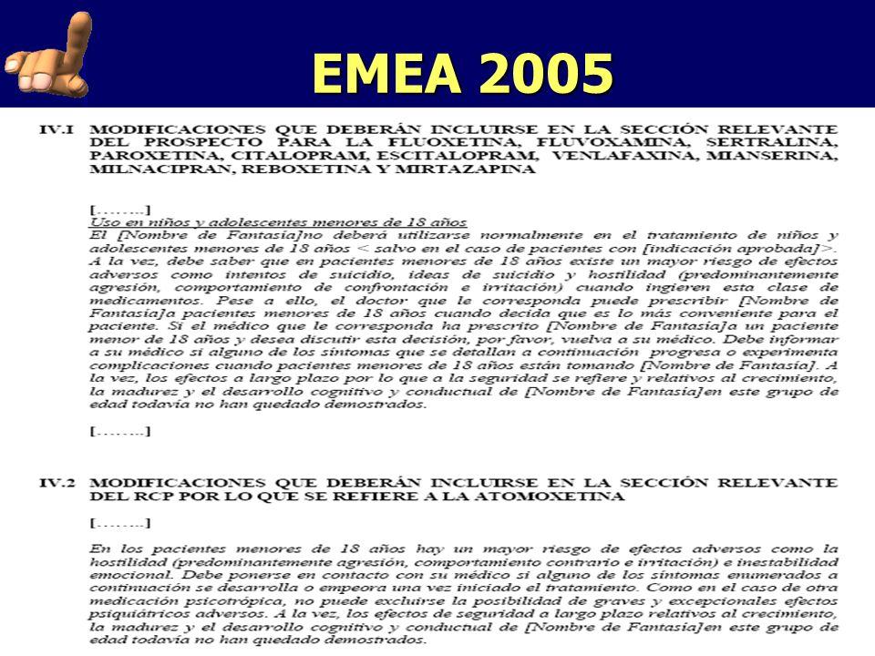 EMEA 2005 Falta de eficacia de atomoxetina. ¿Fluoxetina