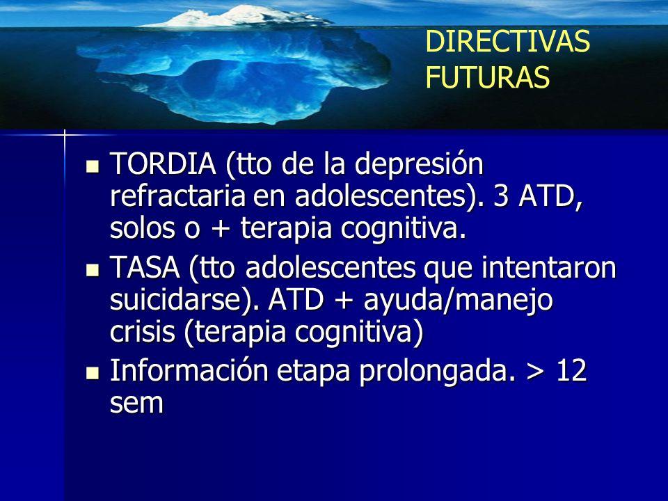 DIRECTIVAS FUTURAS TORDIA (tto de la depresión refractaria en adolescentes). 3 ATD, solos o + terapia cognitiva.
