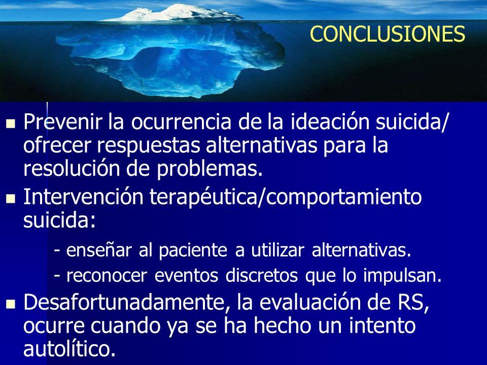 Intervención terapéutica/comportamiento suicida: