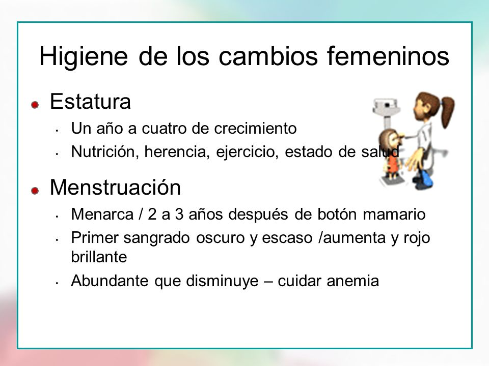 Higiene de los cambios femeninos