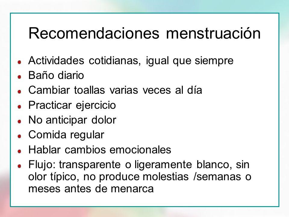 Recomendaciones menstruación