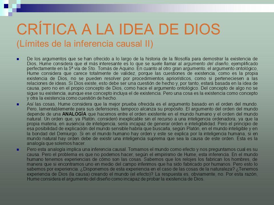 CRÍTICA A LA IDEA DE DIOS (Límites de la inferencia causal II)