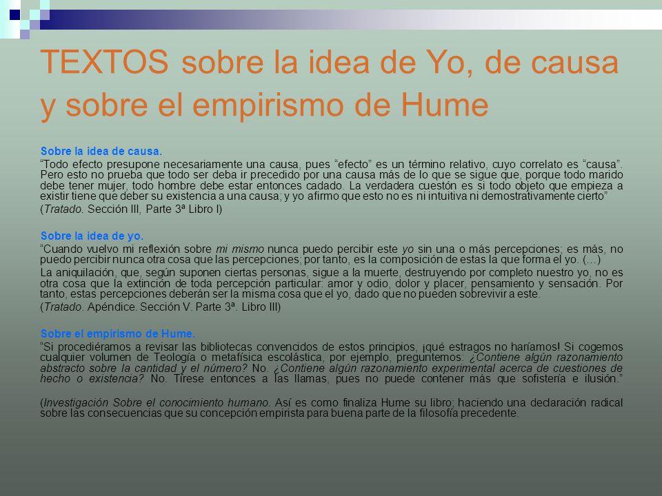 TEXTOS sobre la idea de Yo, de causa y sobre el empirismo de Hume