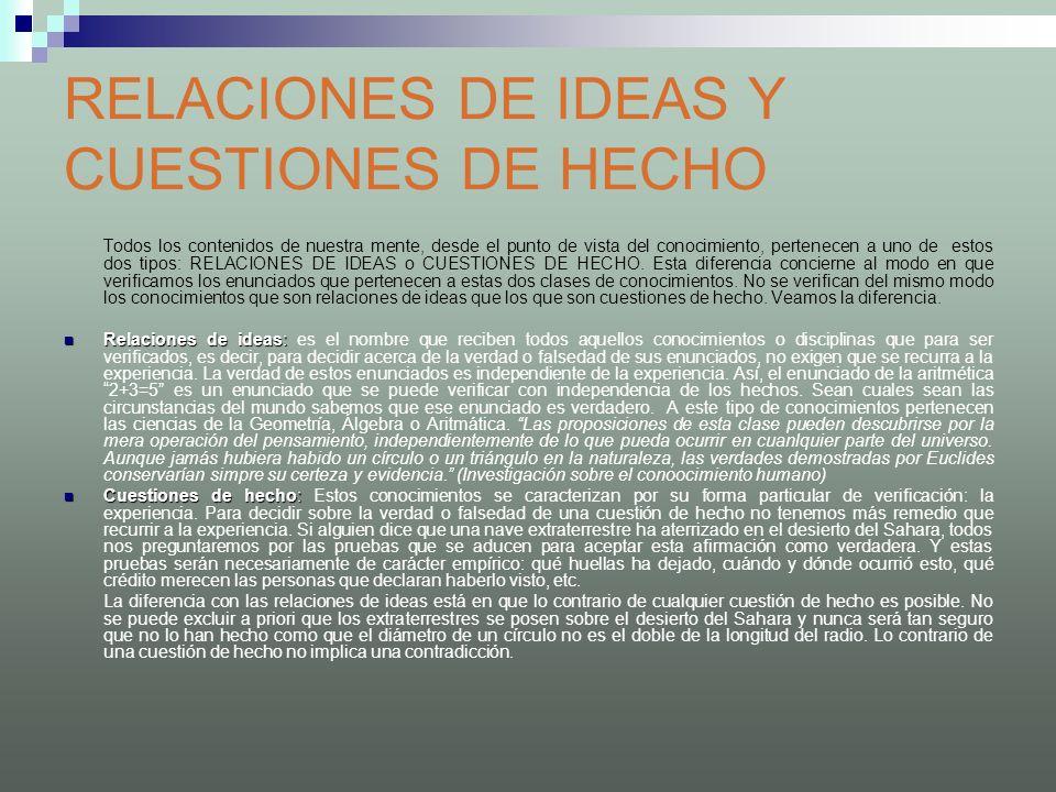 RELACIONES DE IDEAS Y CUESTIONES DE HECHO