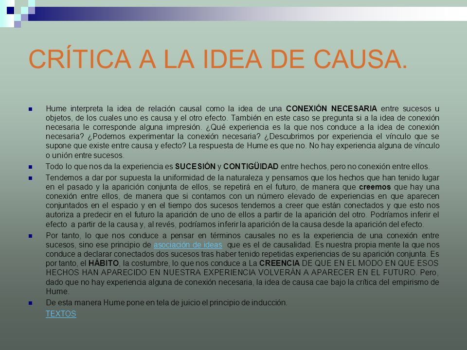 CRÍTICA A LA IDEA DE CAUSA.