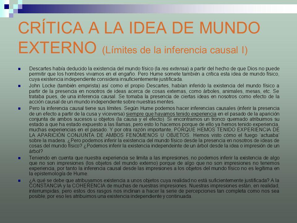 CRÍTICA A LA IDEA DE MUNDO EXTERNO (Límites de la inferencia causal I)