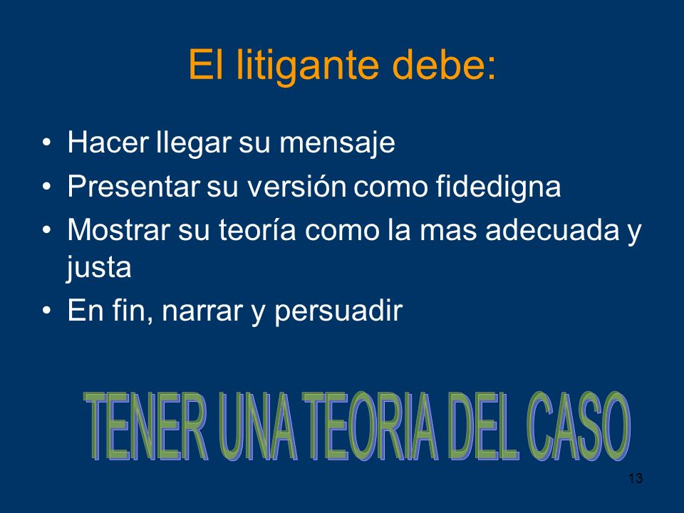 TENER UNA TEORIA DEL CASO