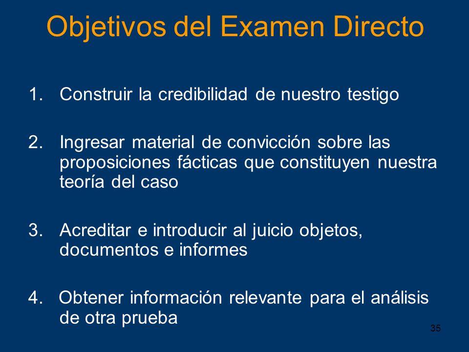 Objetivos del Examen Directo