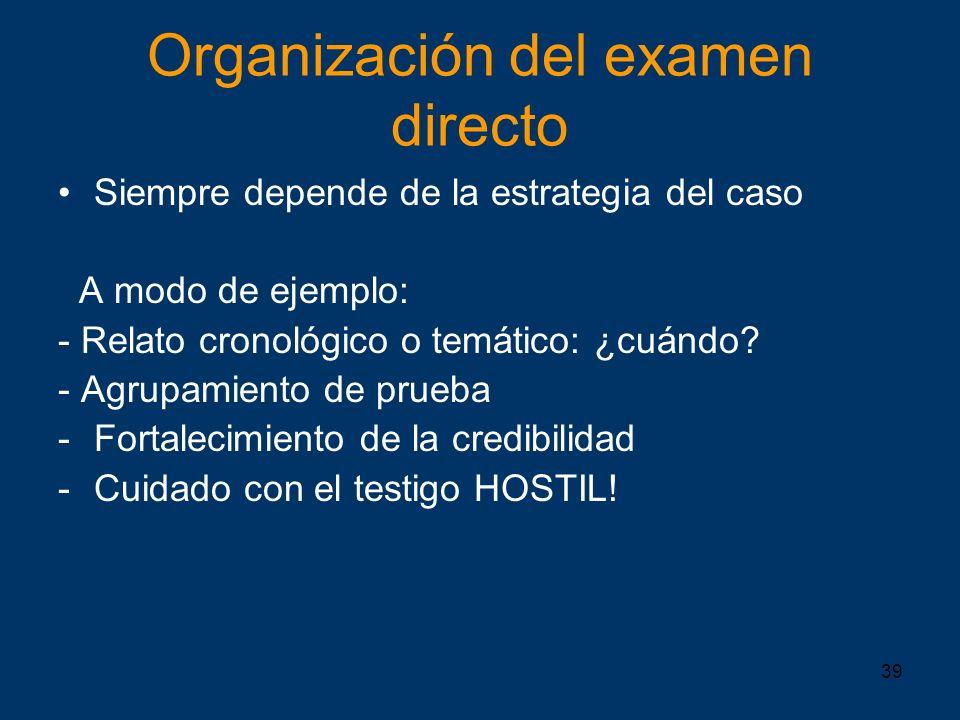 Organización del examen directo