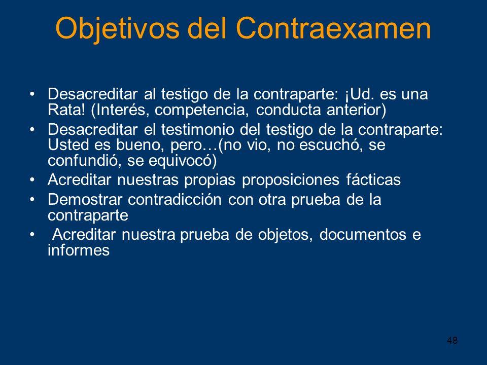 Objetivos del Contraexamen