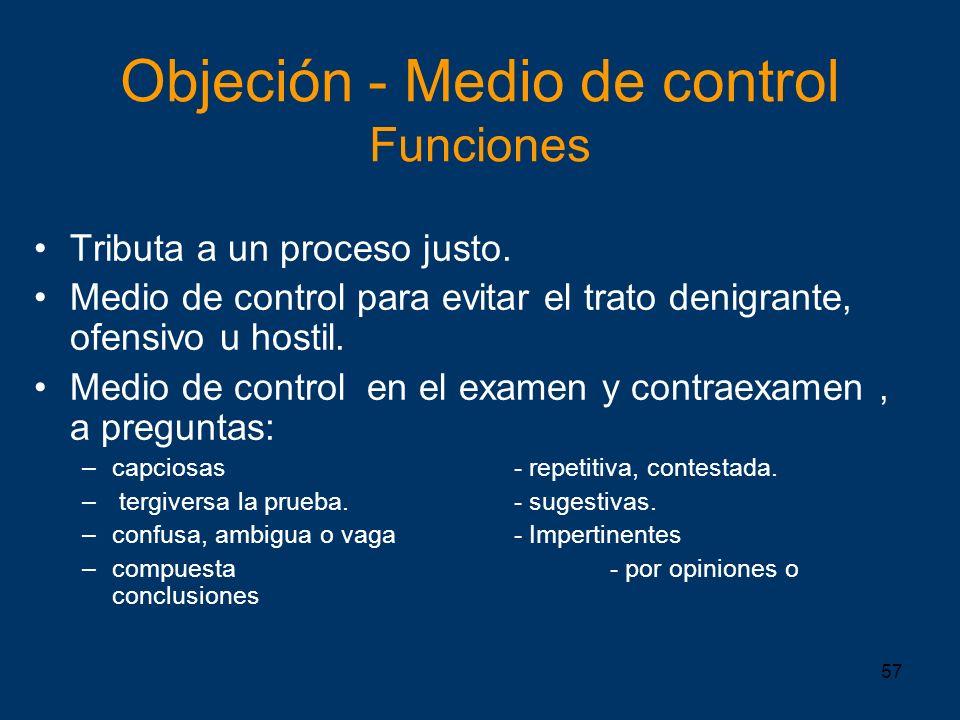 Objeción - Medio de control Funciones