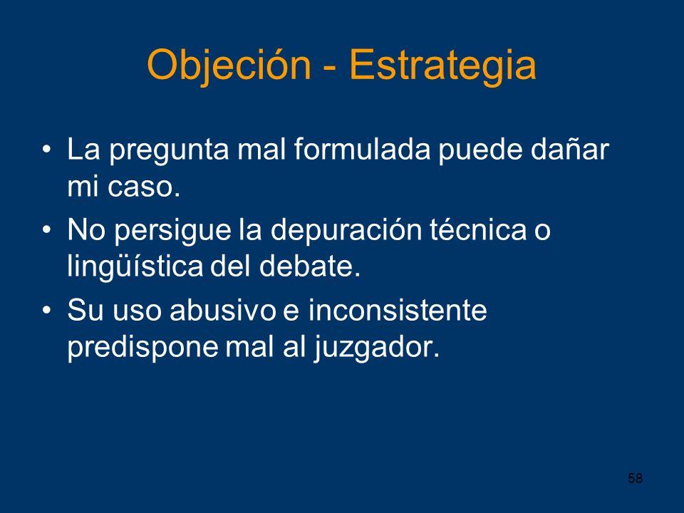 Objeción - Estrategia La pregunta mal formulada puede dañar mi caso.