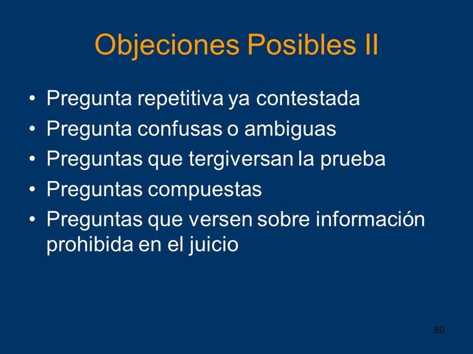 Objeciones Posibles II
