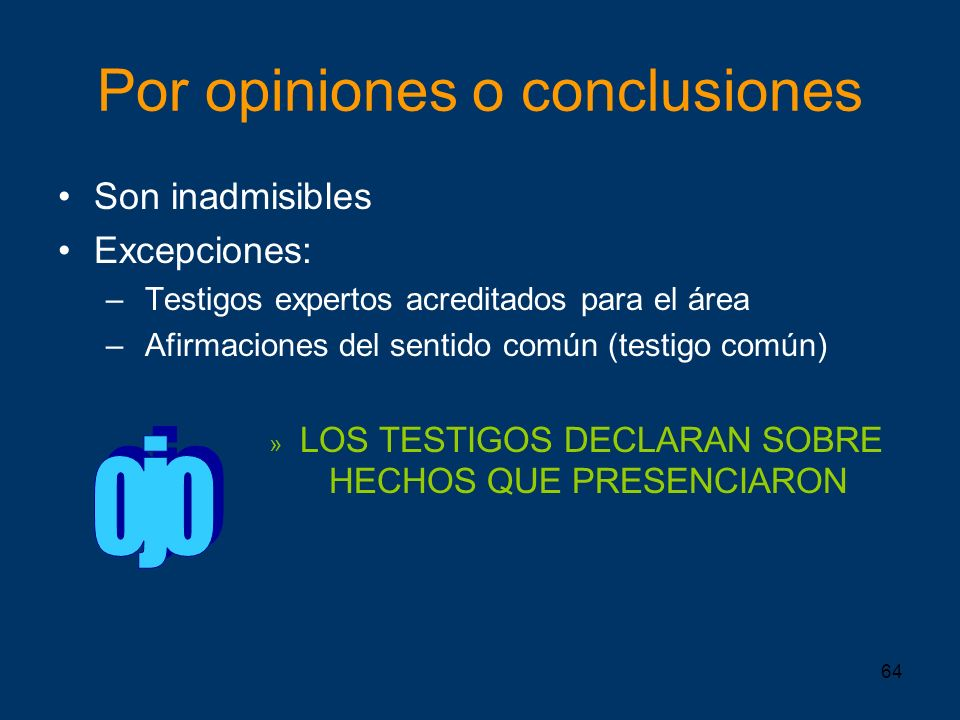 Por opiniones o conclusiones